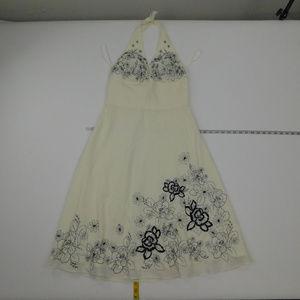 White House Black Market 8 Beige Halter Dress  A-3
